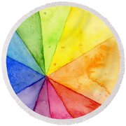 Watercolor Rainbow Beachball Pattern Round Beach Towel