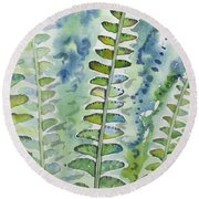 Watercolor - Rainforest Fern Impressions Round Beach Towel
