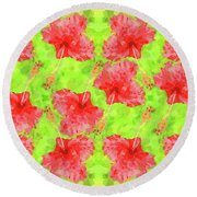 Watercolor Red Hibiscus Tropical Aloha Botanical Round Beach Towel