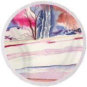 Watercolor River Round Beach Towel