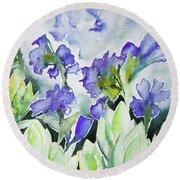 Watercolor - Rocky Mountain Wildflowers Round Beach Towel