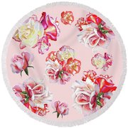 Round Beach Towel featuring the painting Watercolor Roses Pink Dance by Irina Sztukowski