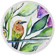 Watercolor - Rufous Motmot Round Beach Towel