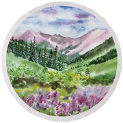 Watercolor - San Juans Mountain Landscape Round Beach Towel