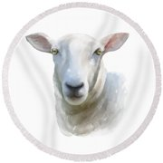 Round Beach Towel featuring the painting Watercolor Sheep by Ivana Westin