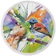 Watercolor - Spotted Antbird Round Beach Towel