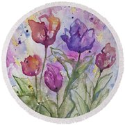 Watercolor - Spring Flowers Round Beach Towel