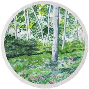 Watercolor - Spring Forest And Flowers Round Beach Towel