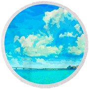 Watercolor Spring On Sarasota Bay Round Beach Towel by Susan Molnar