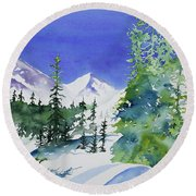 Watercolor - Sunny Winter Day In The Mountains Round Beach Towel