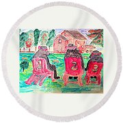 Watercolor Three Bears Visiting A Farm In Tuscany Round Beach Towel