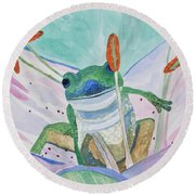 Watercolor - Tree Frog Round Beach Towel