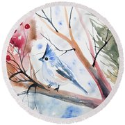 Watercolor - Tufted Titmouse With Winter Berries Round Beach Towel