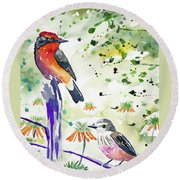 Watercolor - Vermilion Flycatcher Pair In Quito Round Beach Towel