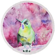 Watercolor - Violet-tailed Sylph Round Beach Towel
