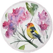 Watercolor - Western Tanager In A Flowering Tree Round Beach Towel