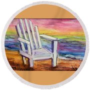 Watercolor White Chair Round Beach Towel