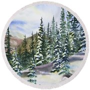Watercolor - Winter Snow-covered Landscape Round Beach Towel
