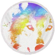 Watercolor Wolf Round Beach Towel