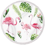 Round Beach Towel featuring the painting Watercolour Flamingo Family by Georgeta Blanaru