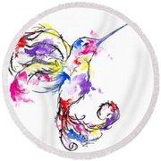 Watercolour Hummingbird Round Beach Towel