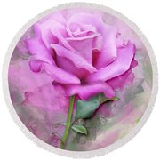 Watercolour Pastel Lilac Rose Round Beach Towel