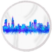 Round Beach Towel featuring the painting Watercolour Splashes And Dripping Effect Chicago Skyline by Georgeta Blanaru