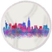 Round Beach Towel featuring the digital art Watercolour Splashes New York City Skylines by Georgeta Blanaru