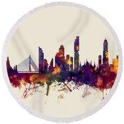 watercolour, watercolor, urban,  Bangkok, Bangkok skyline, bangkok cityscape, city skyline, thailand Round Beach Towel