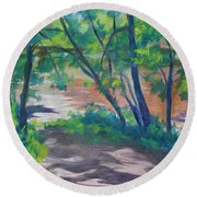 Watercress Beach On The Current River   Round Beach Towel