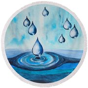 Waterdrops Round Beach Towel