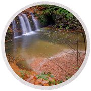 Round Beach Towel featuring the photograph Waterfall-1 by Okan YILMAZ