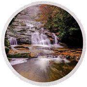 Round Beach Towel featuring the photograph Waterfall-10 by Okan YILMAZ