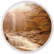 Round Beach Towel featuring the photograph Waterfall-11 by Okan YILMAZ