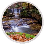 Round Beach Towel featuring the photograph Waterfall-2 by Okan YILMAZ