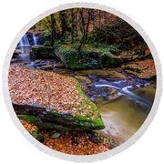 Round Beach Towel featuring the photograph Waterfall-3 by Okan YILMAZ