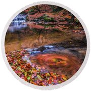 Round Beach Towel featuring the photograph Waterfall-4 by Okan YILMAZ