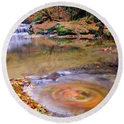 Round Beach Towel featuring the photograph Waterfall-5 by Okan YILMAZ