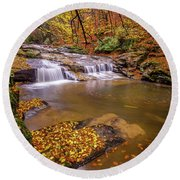Round Beach Towel featuring the photograph Waterfall-6 by Okan YILMAZ