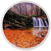 Round Beach Towel featuring the photograph Waterfall-7 by Okan YILMAZ
