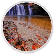 Round Beach Towel featuring the photograph Waterfall-8 by Okan YILMAZ