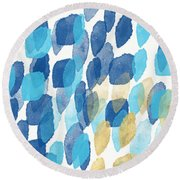 Waterfall- Abstract Art By Linda Woods Round Beach Towel by Linda Woods