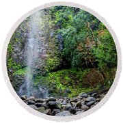 Waterfall And Flowers Round Beach Towel