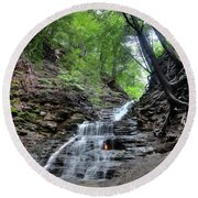 Waterfall And Natural Gas Round Beach Towel