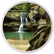 Waterfall And Roots Round Beach Towel