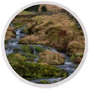 Round Beach Towel featuring the photograph Waterfall At Glendevon In Scotland by Jeremy Lavender Photography