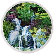 Waterfall At Japanese Garden Round Beach Towel
