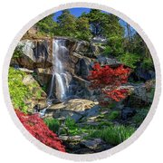 Round Beach Towel featuring the photograph Waterfall At Maymont by Rick Berk