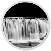 Waterfall At Night Round Beach Towel