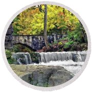 Waterfall At Olmsted Falls - 1 Round Beach Towel